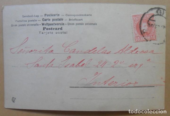 Postales: TARJETA POSTAL CIRCULADA EN 1904 - DAMA CON DIADEMA DE FLORES - SELLO DE 10 CTS. - Foto 2 - 171093884