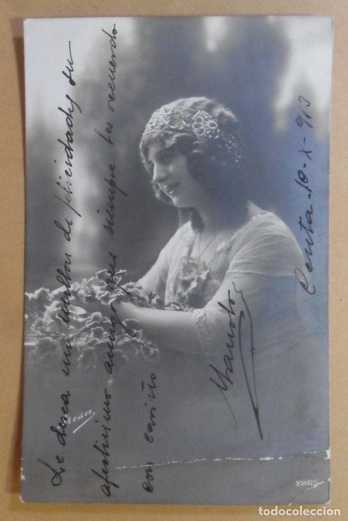 TARJETA POSTAL - ESCRITA EN CEUTA EL 10 DE OCTUBRE DE 1913 - TAMPON DEL BATALLON CAZADORES DE MADRID (Postales - Postales Temáticas - Galantes y Mujeres)