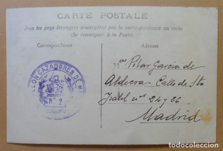 Postales: TARJETA POSTAL - ESCRITA EN CEUTA EL 10 DE OCTUBRE DE 1913 - TAMPON DEL BATALLON CAZADORES DE MADRID - Foto 2 - 171096519
