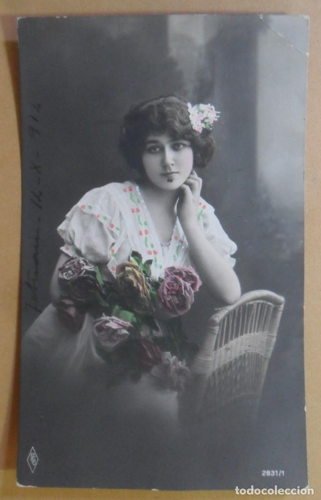 TARJETA POSTAL COLOREADA-CIRCULADA, TETUAN, 12 OCTUBRE 1914 -TAMPON DEL BATALLON CAZADORES DE MADRID (Postales - Postales Temáticas - Galantes y Mujeres)