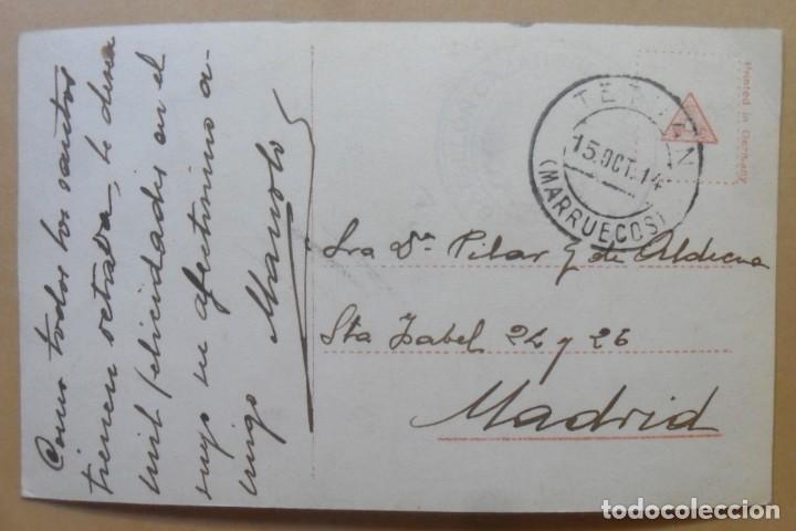 Postales: TARJETA POSTAL COLOREADA-CIRCULADA, TETUAN, 12 OCTUBRE 1914 -TAMPON DEL BATALLON CAZADORES DE MADRID - Foto 2 - 171097767