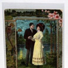 Postales: POSTAL MODERNISTA - PAREJA GALANTE EN LA NOCHE - . SIN CIRCULAR. (1910).. Lote 171097887