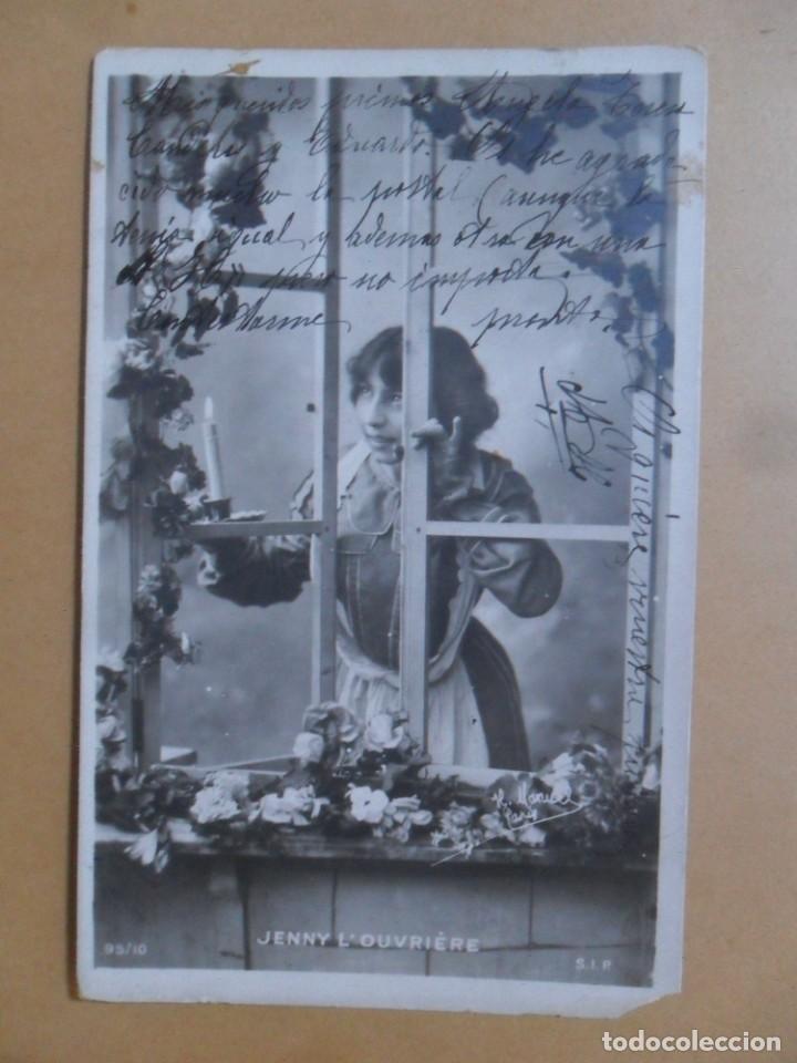 TARJETA POSTAL CIRCULADA C'1902 - JENNY L'OUVRIERE / JENNY LA TRABAJADORA - SELLO DE 10 CTS. (Postales - Postales Temáticas - Galantes y Mujeres)