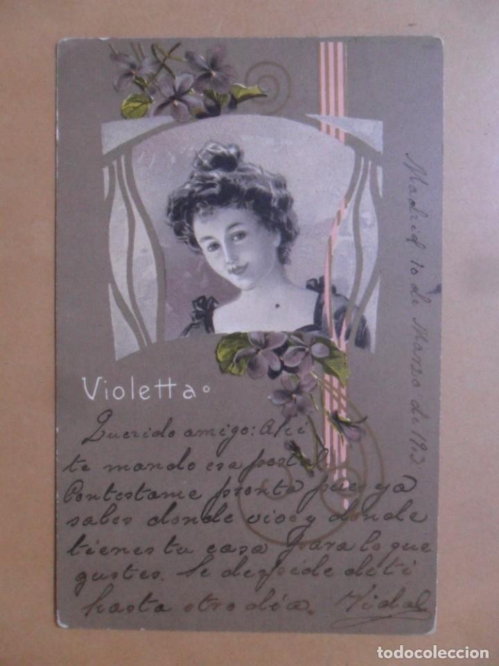 TARJETA POSTAL CIRCULADA 10 DE MARZO DE 1903 - VIOLETTA - SELLO DE 5 CTS. (Postales - Postales Temáticas - Galantes y Mujeres)