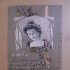 Postales: TARJETA POSTAL CIRCULADA 10 DE MARZO DE 1903 - VIOLETTA - SELLO DE 5 CTS.. Lote 171104843