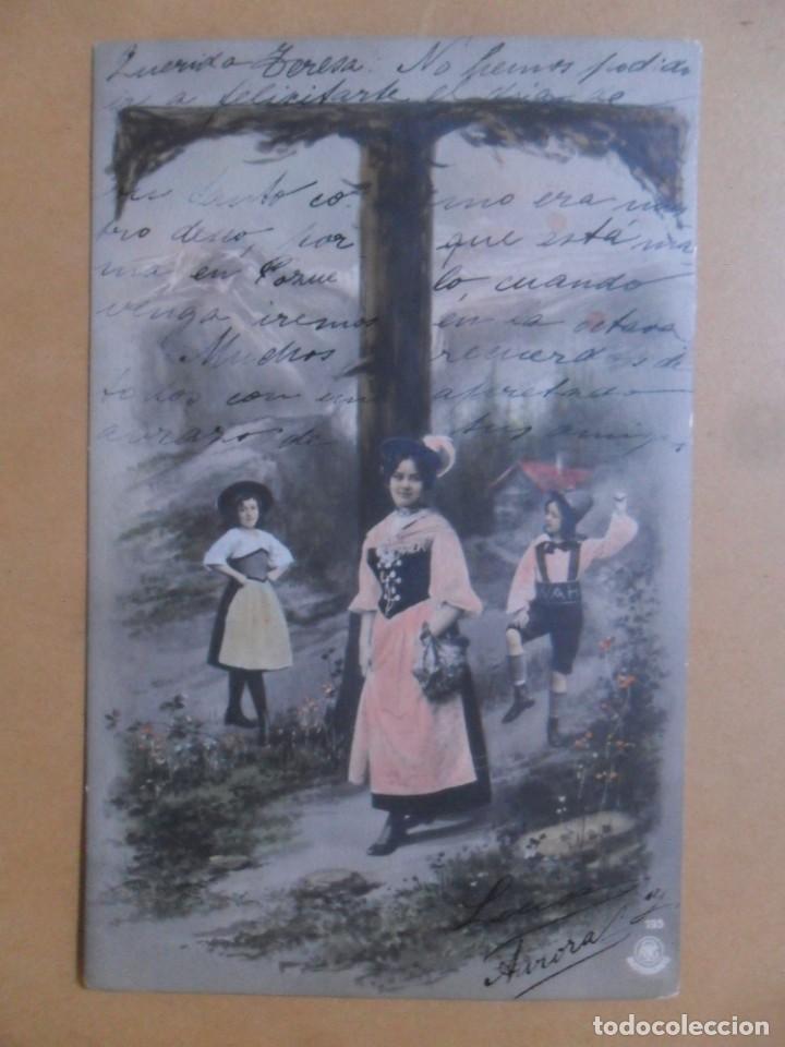 TARJETA POSTAL COLOREADA CIRCULADA 18 DE OCTUBRE DE 1903 - SELLO DE 10 CTS. (Postales - Postales Temáticas - Galantes y Mujeres)