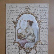 Postales: TARJETA POSTAL CON RESALTE - ESCRITA EL 14 OCTUBRE DE 1903 - DAMA TOCANDO LA LIRA - SELLO DE 10 CTS.. Lote 171106067