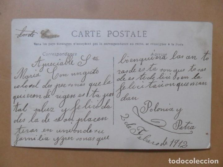 Postales: TARJETA POSTAL ESCRITA DEL 2 DE FEBRERO DE 1912 - DAMA CON FLORES - Foto 2 - 171106115