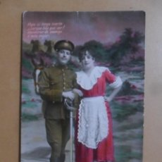 Postales: TARJETA POSTAL COLOREADA - ESCRITA EL 21 DE OCTUBRE DE 1928 - NOVIOS. Lote 171106332