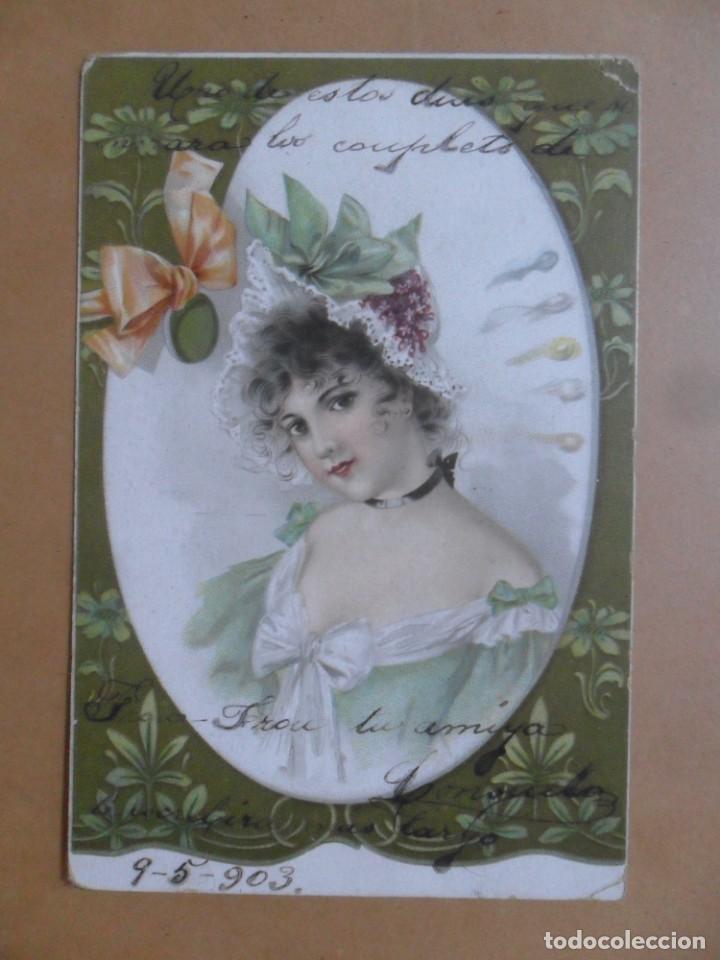 TARJETA POSTAL CIRCULADA EL 6 DE SEPTIEMBRE DE 1903 - SELLO DE 10 CTS. (Postales - Postales Temáticas - Galantes y Mujeres)