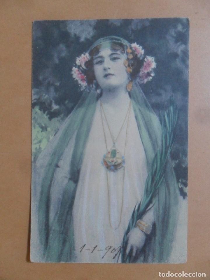 TARJETA POSTAL COLOREADA - 1 DE ENERO DE 1909 (Postales - Postales Temáticas - Galantes y Mujeres)