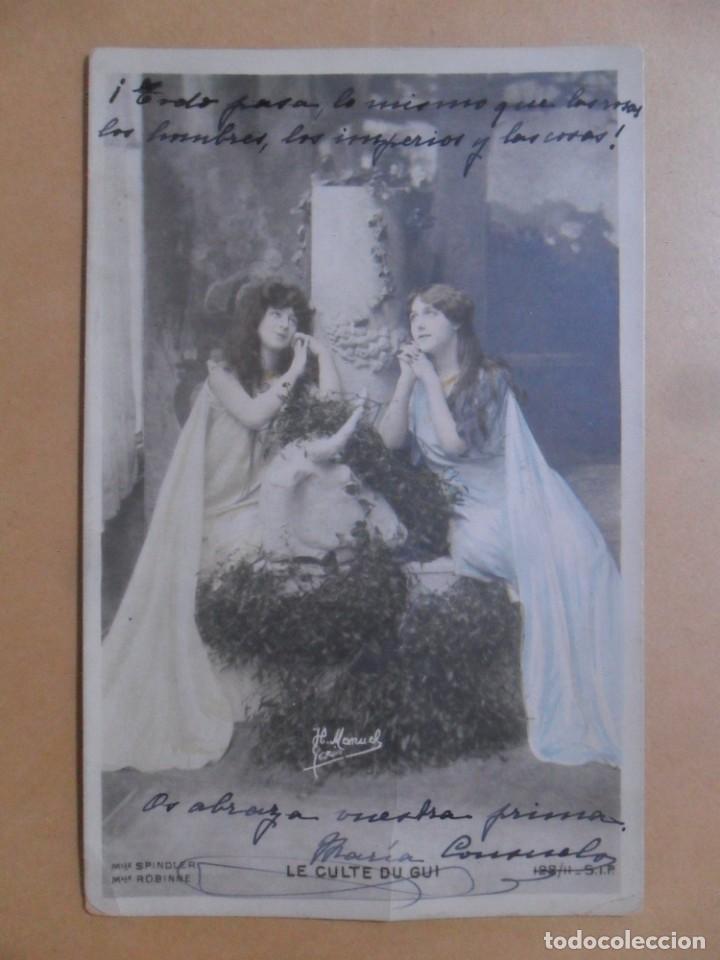 TARJETA POSTAL COLOREADA C'1902-MLLE. SPINDLER ET MLLE. ROBINNE-LE CULTE DU GUI 112/11-H MANUEL, PA (Postales - Postales Temáticas - Galantes y Mujeres)