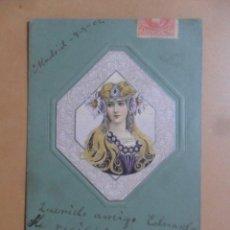 Postales: TARJETA POSTAL CON RESALTE - SEÑORITA ENGALANADA - CIRCULADA 10 DE MAYO DE 1902 - SELLO DE 10 CTS.. Lote 171132749