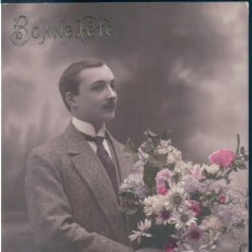 Postales: POSTAL RETRATO GALAN CON RAMO DE FLORES - BONNE FETE - AN. Lote 171538590