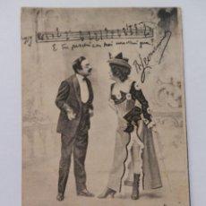 Postales: POSTAL PAREJA DE CANTANTES ITALIANOS 1902.. Lote 171737609