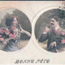 Postales: POSTAL RETRATOS DE PAREJA ROMANTICA CON FLORES - BONNE FETE - CIRCULADA. Lote 172092844