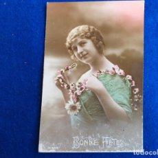 Postales: POSTAL MUJER COLOREADA. BONNE FETE.. Lote 173977948