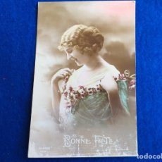 Postales: POSTAL MUJER COLOREADA. BONNE FETE.. Lote 173977978