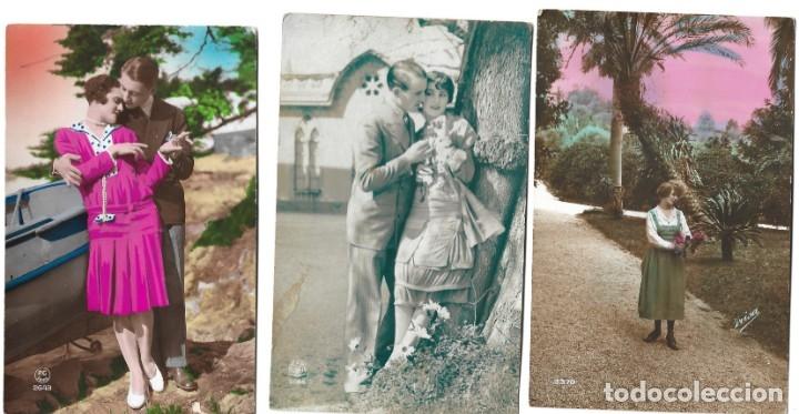 LOTE 3 POSTALES ROMÁNTICAS MUY ANTIGUAS DE FRISA, P.C. PARIS Y OTRA - MANUSCRITAS AÑOS 20 (Postales - Postales Temáticas - Galantes y Mujeres)