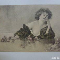 Postales: POSTAL ANTIGUA COLOREADA. DAMA. ESCRITA EN 1904.. Lote 176266122
