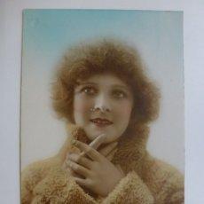 Postales: POSTAL ANTIGUA COLOREADA. DAMA. ESCRITA EN 1924.. Lote 176266355