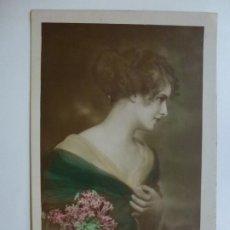 Postales: POSTAL ANTIGUA COLOREADA. DAMA. ESCRITA EN 1921.. Lote 176266370