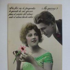 Postales: POSTAL ANTIGUA COLOREADA. DAMA Y CABALLERO. MÁRGARA 561/5. ESCRITA 1923.. Lote 176319744