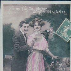 Postales: POSTAL PAREJA - 4188 PC - CIRCULADA 1909 - JE ME FAIS UN PLAISIR DE RELIRE VOTRE LETTRE. Lote 177339492