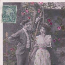 Postales: POSTAL PAREJA ENAMORADOS - V B C SERIE 3401 - CIRCULADA 1908 - ETOILE - VALERY. Lote 177364667