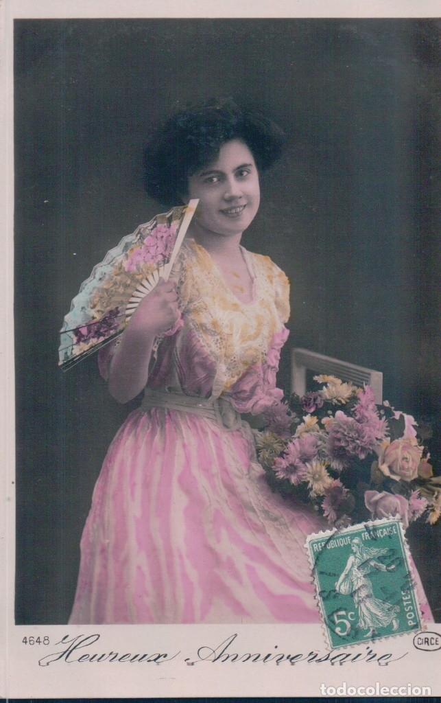 POSTAL MUJER CON ABANICO - CIRCULADA 1911 - 4648 CIRCE (Postales - Postales Temáticas - Galantes y Mujeres)