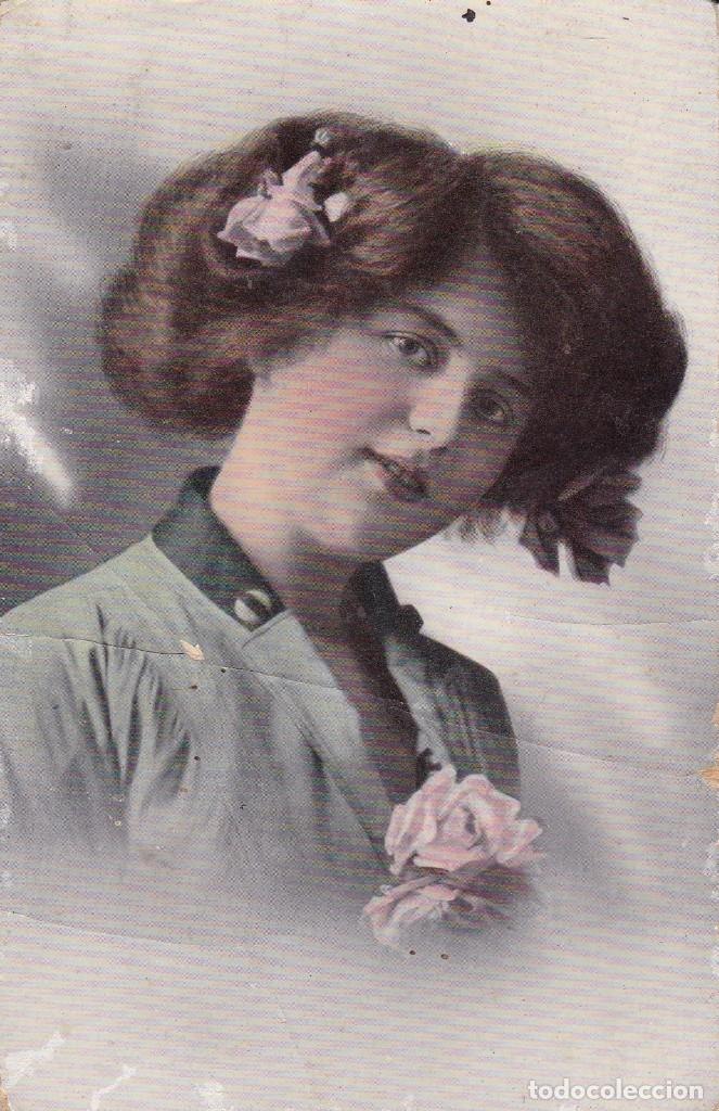 BELLA SEÑORITA CIRCULADA 1914 (Postales - Postales Temáticas - Galantes y Mujeres)