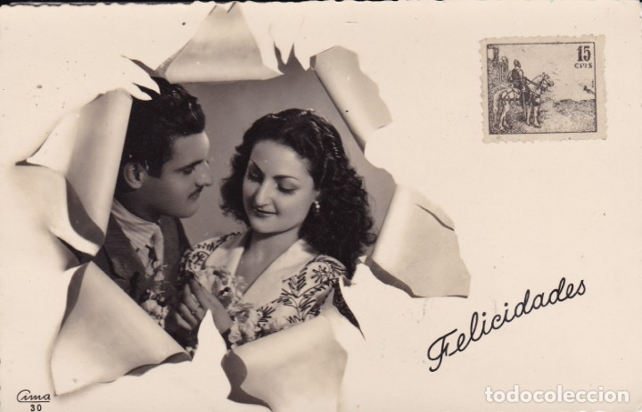 PAREJA DE NOVIOS ED. CIMA 30 CIRCULADA 1948 (Postales - Postales Temáticas - Galantes y Mujeres)