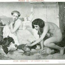 Postales: UN COMBATE DE GALLOS- LÉON GÉROME. Lote 178213590