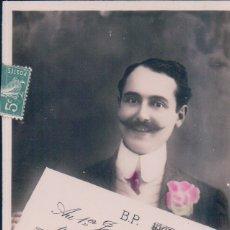 Postales: POSTAL GALANTE HOMBRE CON BIGOTE Y UN CHEQUE - CIRCULADA 4251 CIRCLE. Lote 180230332