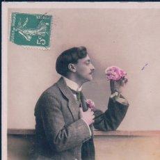 Postales: POSTAL GALANTE HOMBRE CON BIJOTE - FLORES - 5044 CIRCE. Lote 180230745