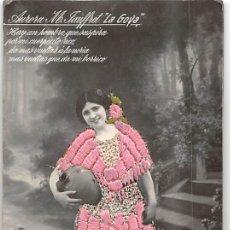 Postales: AURORA M.JAUFFRET- POSTAL FOTOGRÁFICA BORDADA. Lote 181724513
