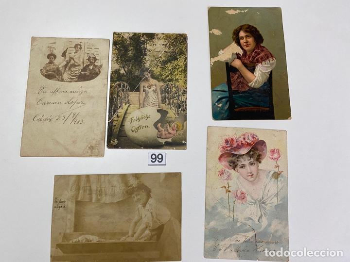 LOTE DE 5 POSTALES RELACIONADAS CON CADIZ DE COMIENZOS DE 1900 . (Postales - Postales Temáticas - Galantes y Mujeres)