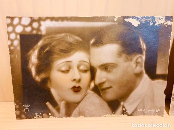 Postales: DOS POSTALES ANTIGUAS PINTADAS A MANO FABRICADAS EN FRANCIA - Foto 2 - 183186412