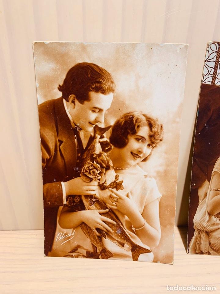 Postales: DOS POSTALES ANTIGUAS PINTADAS A MANO FABRICADAS EN FRANCIA - Foto 2 - 183187582