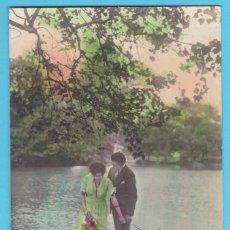 Postales: PAREJA ROMÁNTICA. GLORIA 1217. VIRADO EN SEPIA Y COLOREADA. ESCRITA EN 1921. Lote 183371901