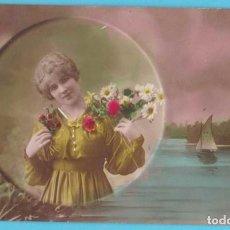 Postales: MUJER ROMÁNTICA Y PAISAJE. GLORIA 1129. VIRADO EN SEPIA Y COLOREADA. ESCRITA EN 1919. Lote 183372207