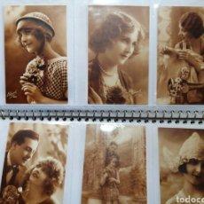 Postales: LOTE SEIS POSTALES MARRÓN1920-30. Lote 184024105