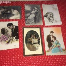 Postales: LOTE 6 POSTALES PAREJAS DE ENAMORADOS - AÑOS 20 Y 40 - CIRCULADAS. Lote 185765916