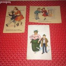 Postales: LOTE 3 POSTALES HUMORÍSTICAS DE PAREJAS - AÑOS 40 - CIRCULADAS. Lote 185770432