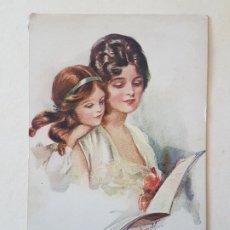 Postales: MADRE E HIJA LEYENDO POSTAL ANTIGUA. Lote 186149013