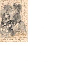 Postais: BELLA DAMA CON PAPA NOEL CIRCULADA EN 1914 ENVIADA AL CATLLAR TARRAGONA. Lote 186410935