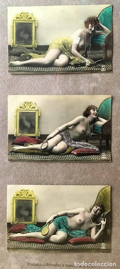 Postales: Lote de tres postales coloreadas a mano Paris 1915 - Foto 6 - 215482417