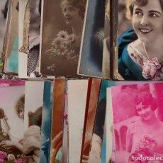 Postales: BUEN LOTE DE 75 POSTALES DE MUJERES (DÉCADAS 1910, 1920 Y 1930). Lote 189271632