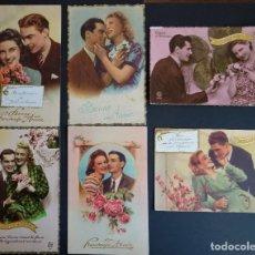 Postales: 6 ANTIGUAS POSTALES DE FELICITACIÓN FRANCESAS SIN CIRCULAR . Lote 189498007