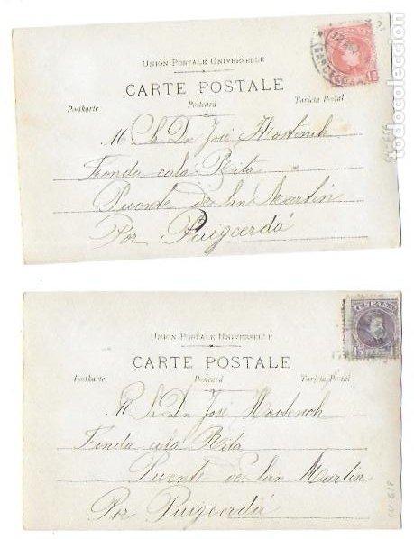 Postales: P-9701. PAREJA DE POSTALES FOTOGRAFICAS CON ILUSTRACION. 1904. - Foto 4 - 191450597